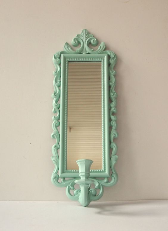 Mirror Candle Wall Sconce Vintage Ornate Syroco Painted Aqua Shabby Chic Cottage Home Wall Decor Paris French. $25.00, via Etsy.