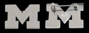 Beliza Design | University of Michigan Pins - GW51Z0762 - Polished Stainless Steel University of Michigan Block 'M' Logo Pin (Small)