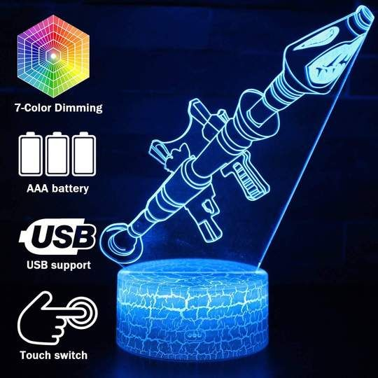 Fortnite Rocket Launcher 3d Night Light Lamp In 2020 3d Night Light Night Light Lamp Night Light