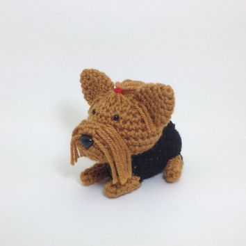 Amigurumi Dog Fur : SALE / Yorkshire Terrier with Red Hair Tie Crochet Puppy ...