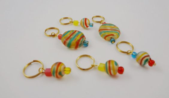 Cotton Candy Stripes Stitch Markers Set 5  for by SmoochieLou, $7.99