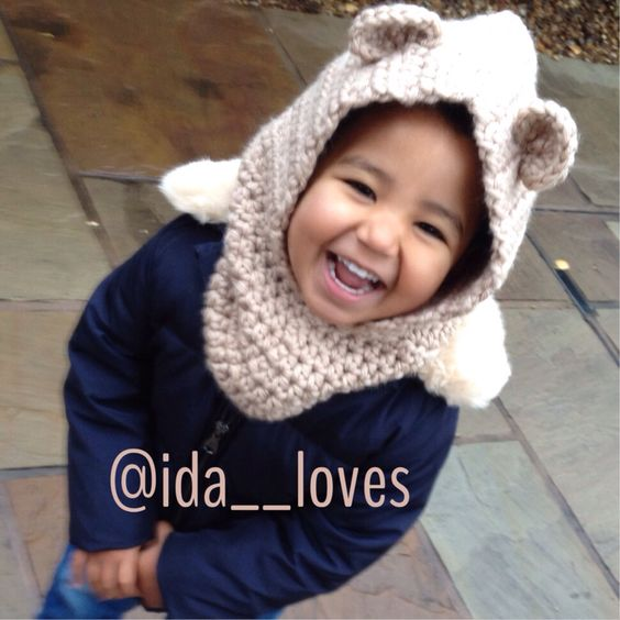 My girl in her super chunky crochet bear cowl. Handmade by me