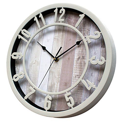 Sunbright 12 Inch Rustic Decorative Noiseless Wall Clock Silent Non Ticking For Home Office School Cream Wall Clock Silent Clock Wall Decor Wall Clock