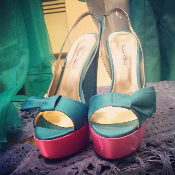 Scarpe verdi & fuxia collezione Passaro  #fashion #green #emerald #pantone #cerimonia #wedding #matrimonio
