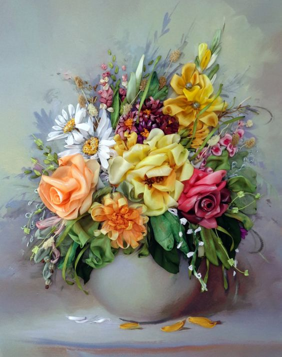 picture Floristic composition embroidered by SilkRibbonembroidery, €90.00