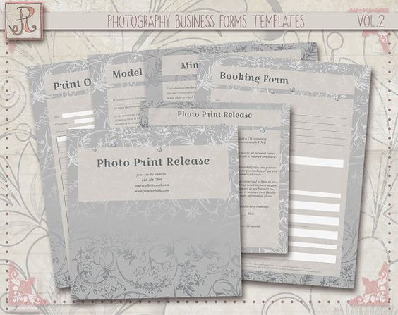 Photography Business Forms Print Release Order Form Booking