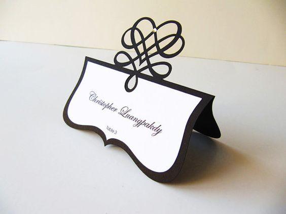 Place Card  Wedding Tented Layered Die Cut by JutingDesignStudio, $1.45