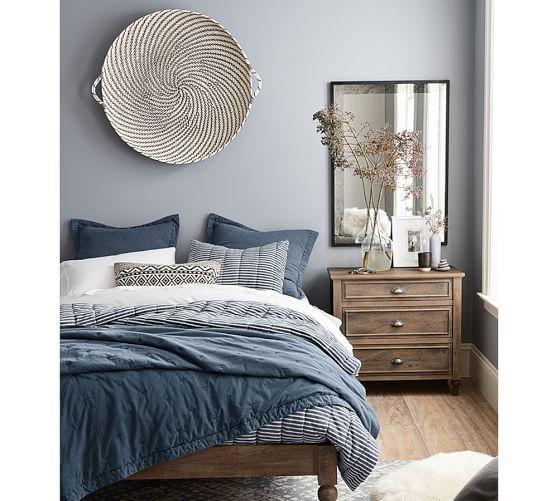 Woven Wheel Wall Art Wall Decor Pottery Barn In 2020 Master Bedroom Interior Master Bedrooms Decor Small Master Bedroom