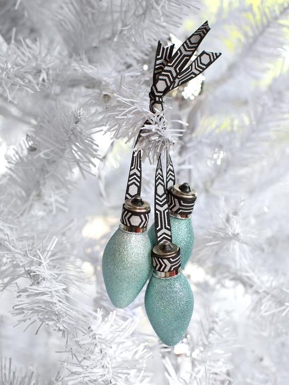 Reinvent old light bulbs as tree ornaments by spray-painting them with metallic paint, then grouping together in clusters with ribbon. Smaller light bulbs work best grouped in odd numbers, while larger lightbulbs are best as single ornaments.  http://www.hgtv.com/handmade/20-modern-handmade-holiday-decorating-ideas/pictures/page-19.html?soc=pinterest