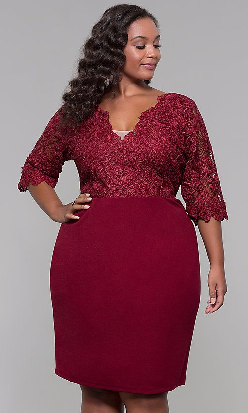 Plus Size Short Wedding Guest Dress With 3 4 Sleeves Wedding Guest Dress Dresses Party Dresses With Sleeves