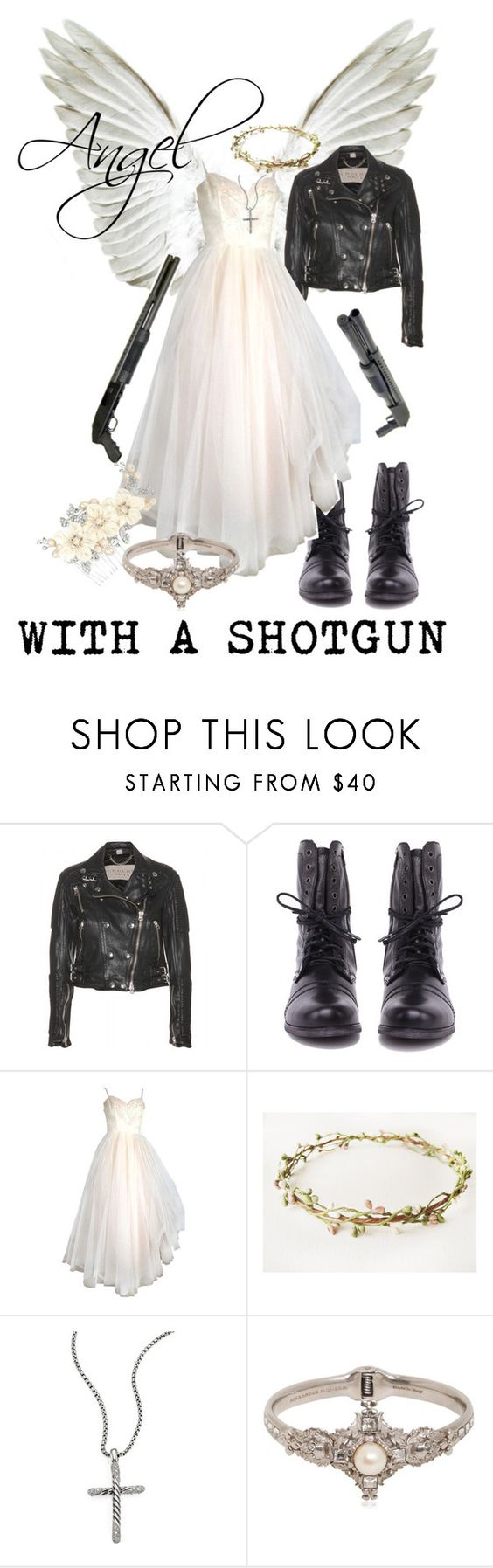 """""""Angel With A Shotgun"""" by elliequestrienne ❤ liked on Polyvore featuring Burberry, Steve Madden, GALA, David Yurman, Alexander McQueen and Alan Hannah"""