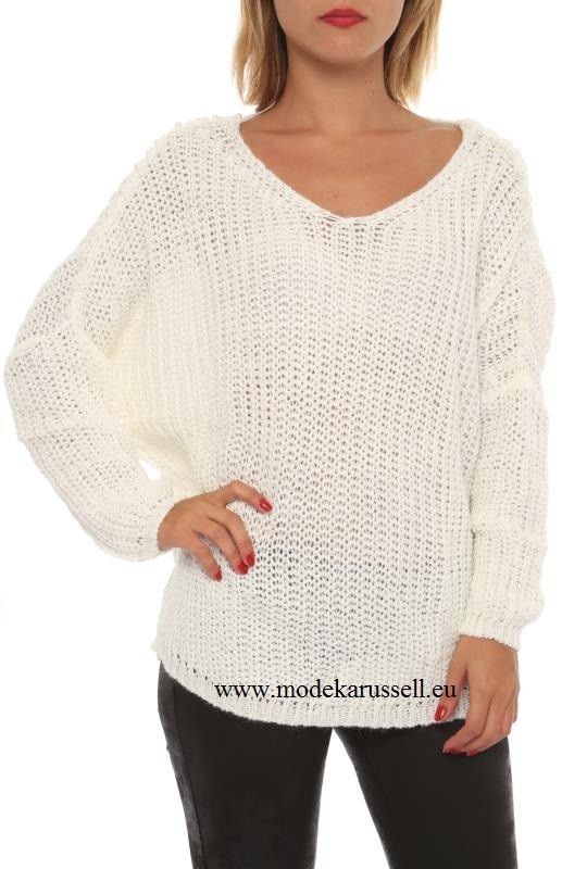 Damen V-Pullover Amy Weiß