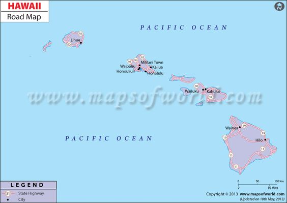 Hawaii Road Map The Scenic Route Pinterest Hawaii Highway map