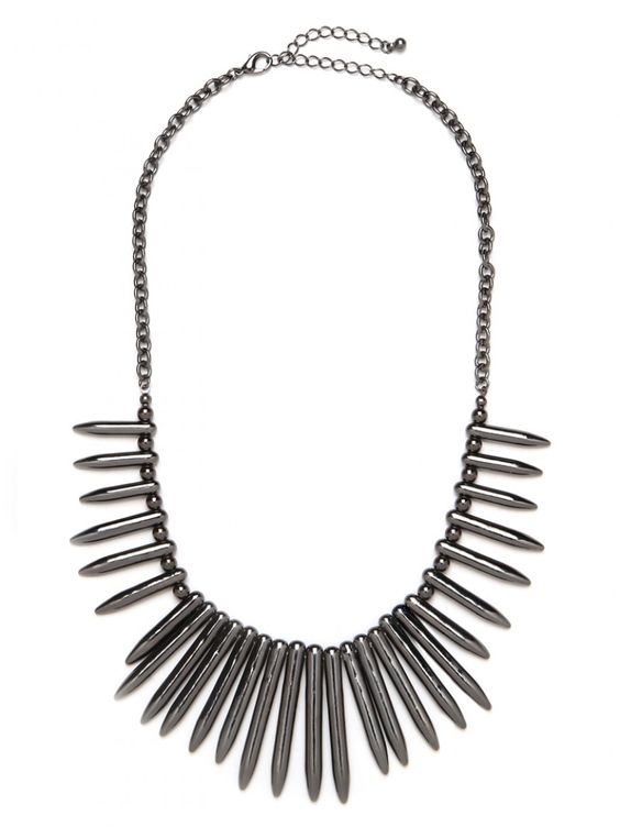 Our Hematite Bullet Bib.  Edgy and sleek.  We love this paired with a cool gray tank for a classic minimalist look. // need this.