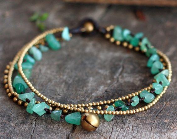 Jade Brass Chain Anklet by brasslady on Etsy, $9.00