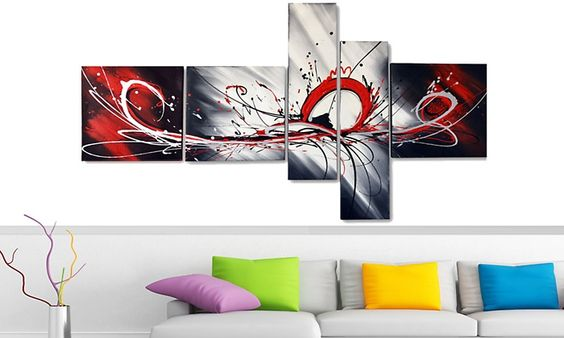 Gallery Wrapped Multipanel Handpainted Abstract Painting | Groupon