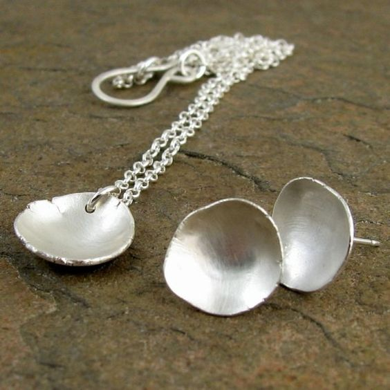 Sterling Silver Disc Necklace Stud Earrings Modern by organikx, $130.00