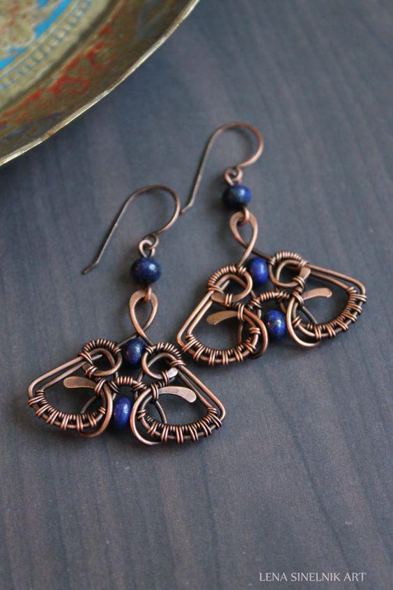 Wire wrap earrings copper earrings Lapis lazuli by LenaSinelnikArt