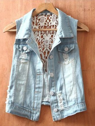 Blue Single Breasted Ripped Sequined Lace Denim Coat - Sheinside.com