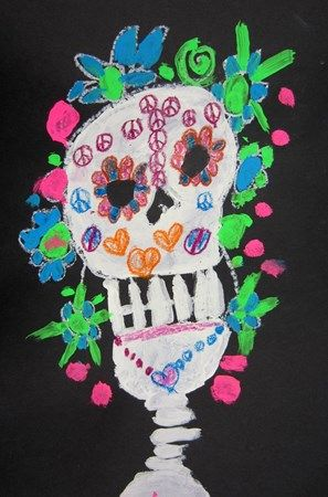 Akira177's art on Artsonia Day of the Dead Calaveras with white paint, construction paper crayons and neon tempera paint!
