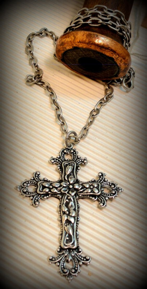 Large ornately Stamped Antiqued Silver Christian Cross Pendant on Etched Silver chain.