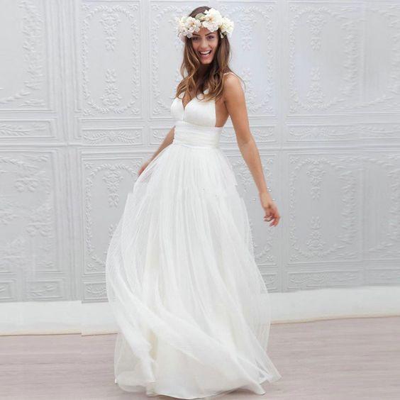 $92-Cheap Simple Spaghetti Straps Bohemian Beach Wedding Dress 2016 Long Tulle Sexy Backless Bridal Wedding Gowns