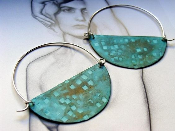 Halfmoon Hoops ----------Turquoise color