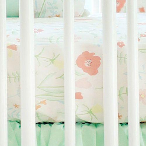 Crib Sheet   Mint Spring Floral Crib Baby Bedding Set