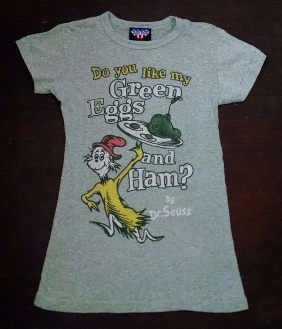 Junk Food Dr Seuss Green Eggs and Ham Womens T-shirt M Heathered Stretchy USA #JunkFood #GraphicTee: