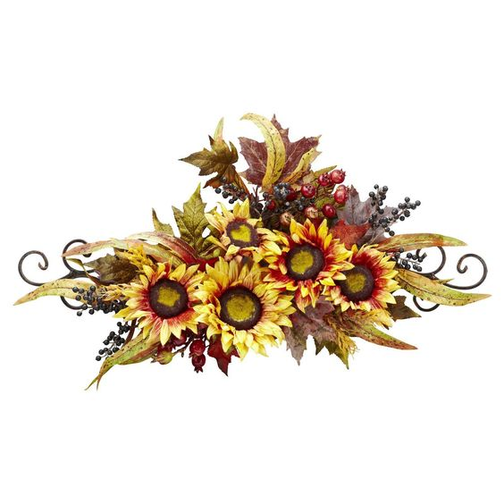 swag sunflower fall floral wreath metal frame arrangement decor harvest flowers | eBay