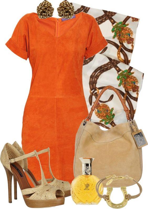 """Orange Dress"" by gangdise on Polyvore:"