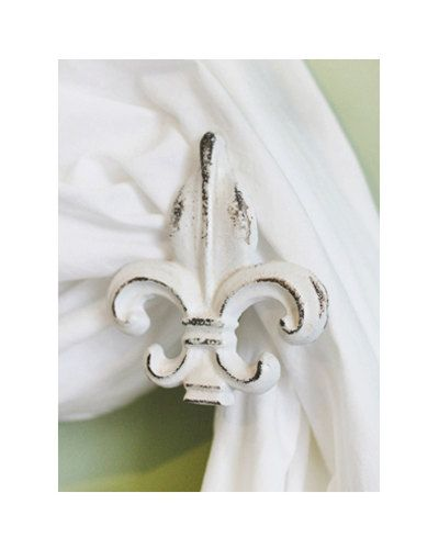 Fleur de Lis Curtain Tiebacks / Cast Iron Curtain Tie Backs ...