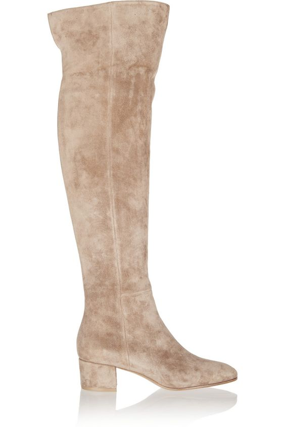 Gianvito Rossi Suede Over-the-Knee Boots, Beige | Shoes ...