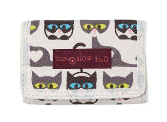 Bungalow360ビーガン三つ折り財布(猫)