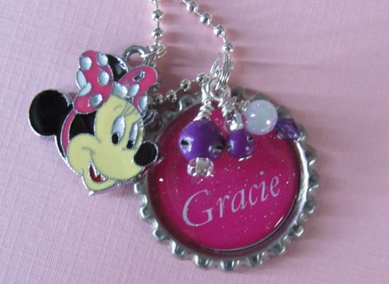 Minnie Mouse Personalized Girl Charm Pink by DaisysJewels on Etsy, $12.50