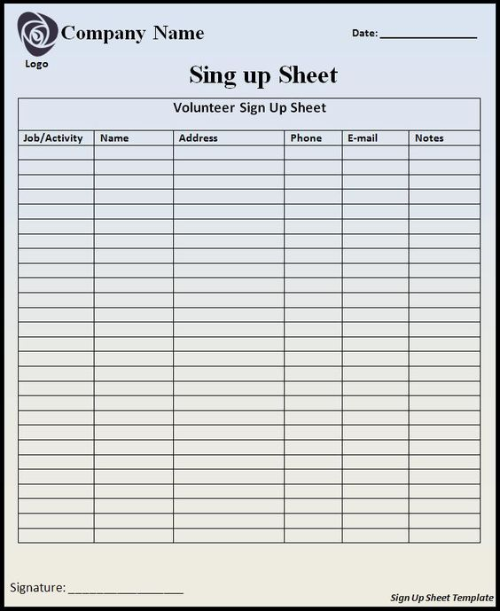 customizable printable sign up sheets templates – Free Printable Sign in Sheets