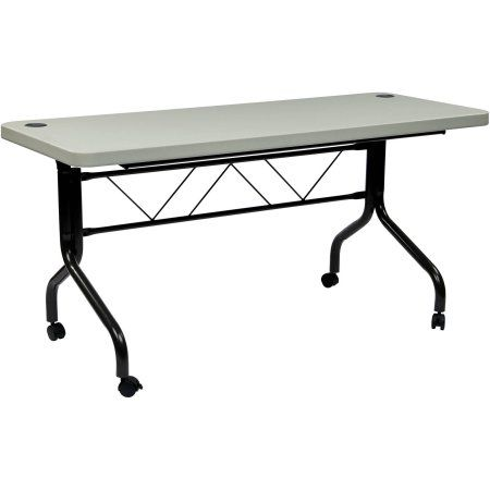 Work Smart 5' Resin Multi-Purpose Flip Table with Locking Casters, Grey, Gray