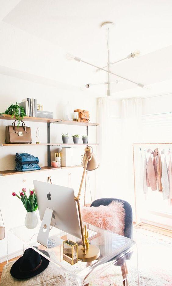 feminine home office clear desk