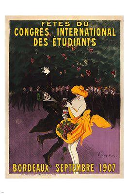international student congress party VINTAGE AD POSTER BORDEAUX 24X36 DANCE