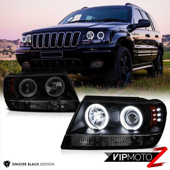 For 99 04 Jeep Grand Cherokee Wj Wg Laredo Limited Halo Led Projector Headlights Jeep Grand Cherokee Projector Headlights Led Halos