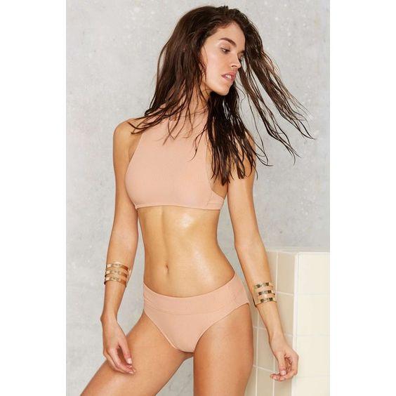Nasty Gal Rippled Waters High-Waisted Bikini Bottom (920 MXN) ❤ liked on Polyvore featuring swimwear, bikinis, bikini bottoms and nasty gal