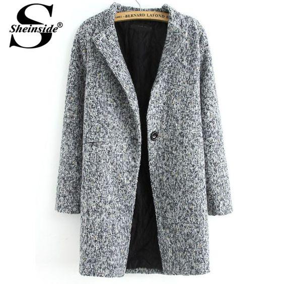 29.40€ - Sheinside Autumn Winter Women Clothing Casual Tops Outerwear New Arrival Fashion Grey Long Sleeve Single Button Tweed Coat - Sheinside Group Co. Ltd.