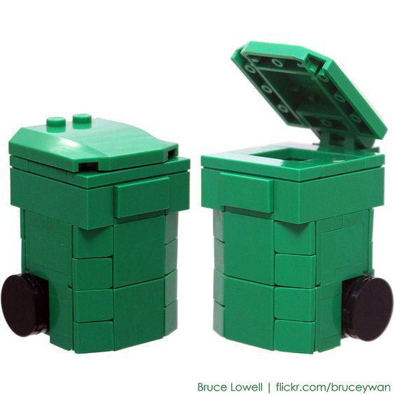 LEGO Recycling Bin (Green) by bruceywan, via Flickr