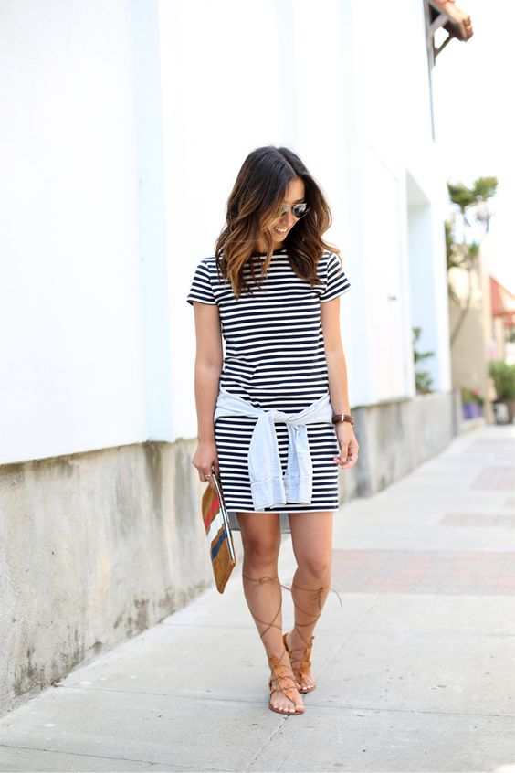 Lace up Gladiator sandals / Zara Striped Dress