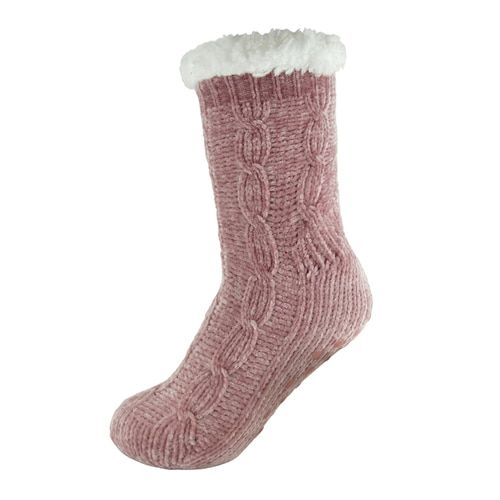2 Ladies Thick Warm Fluffy Fleece Cosy Ankle Thermal Lounge Bed Socks ONLY PINK