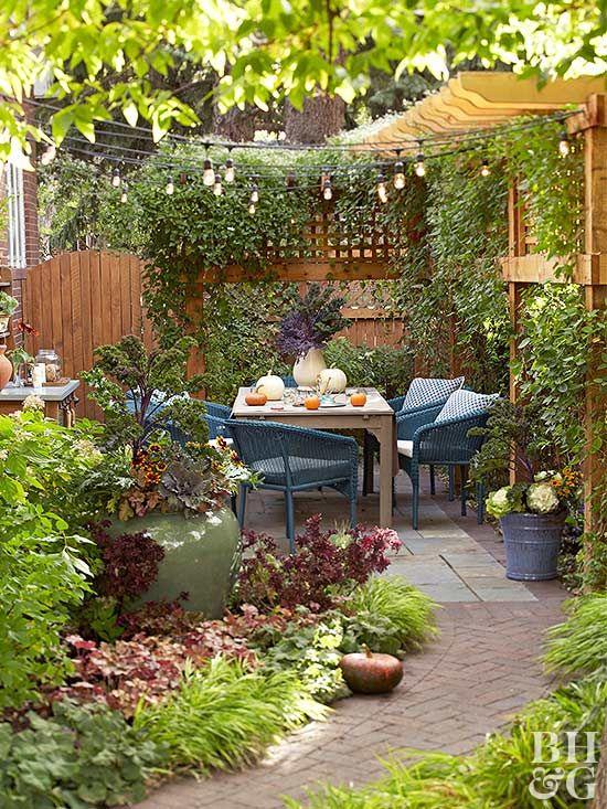 How To Choose A Size For Your Patio Small Courtyard Gardens Backyard Courtyard Gardens Design