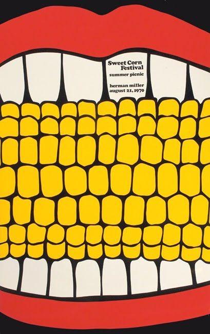 Steve Frykholm poster for the Herman Miller Sweet Corn Festival Summer Picnic on August 21, 1970 (via All My Eyes).