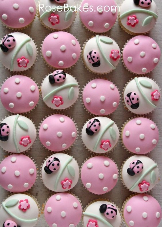 Spring Cupcakes! Pink Ladybug Cupcakes and Cake Pops | http://rosebakes.com/pink-ladybug-cupcakes-cake-pops/