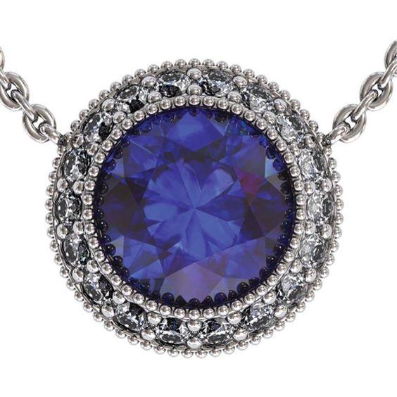 Sapphire Regal Halo Pendants from Adamant Designs | Square Market