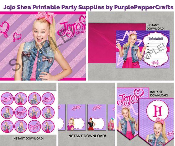 Jojo Siwa Printable Party Supplies by PurplePepperCrafts